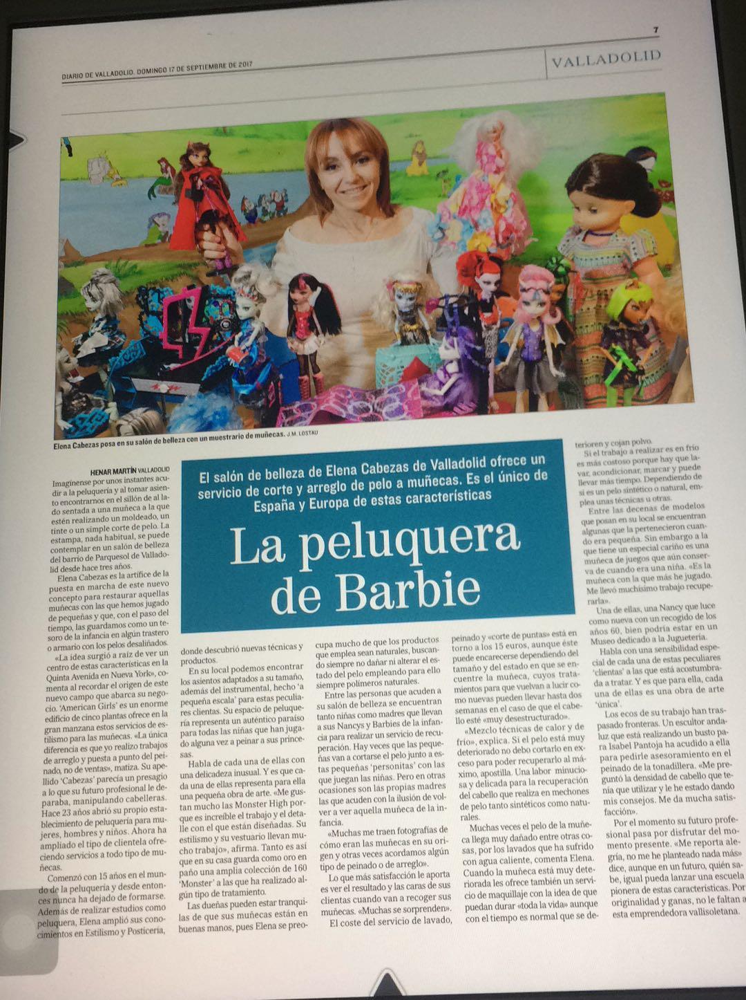 Artículo La peluquera de Barbie por el Diario de Valladolid